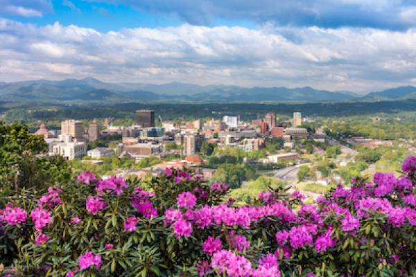 downtown asheville in spring