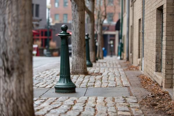 cobblestone street in asheville